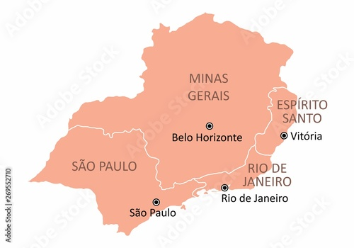 Map of the Brazil southeast region isolated on white background Canvas Print