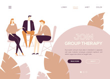 Join Group Therapy - Colorful Flat Design Style Web Banner
