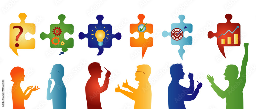 Fototapeta Colored profile people gesturing. Puzzle pieces with problem solving symbols. Business solution. Concept problem solving team. Strategy and success. Client service