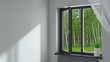 canvas print picture - Black plastic window in the room