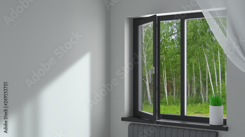Black plastic window in the room