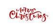 Merry Christmas red calligraphic hand drawn lettering text. Vector illustration Xmas calligraphy on white background. Isolated element for banner postcard, poster design greeting card