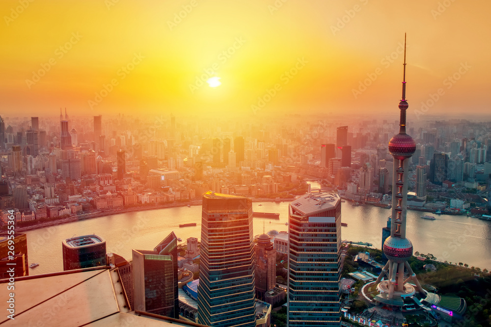 Photo  Aerial cityscape of Shanghai at sunset