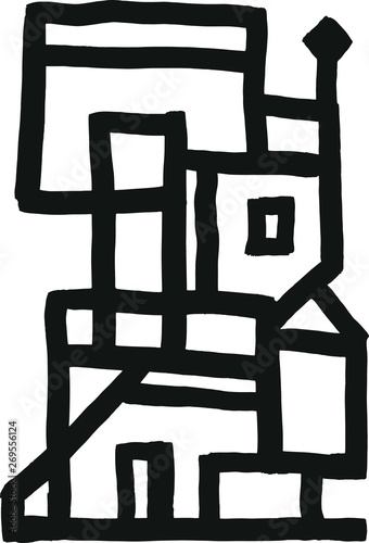Fototapeta Abstract building. Hand-drawn vector illustration.