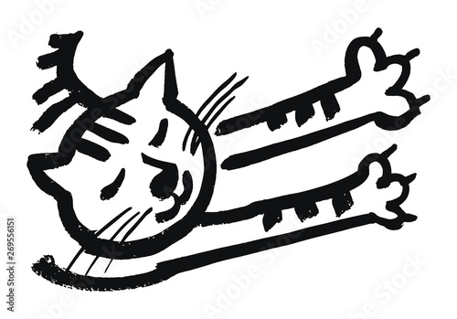 Obraz na plátně Cute relaxed cat with closed eyes. Vector isolated illustration.