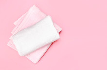 Folded Towels On Pink Empty Sp...