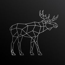 Geometric Outline Of Elk. Side View. Vector Illustration Of A Wild Moose.