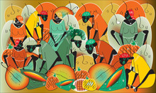 Ethnic Vintage Colorful Background With African Black People With Jugs And Fruits. Perfect For Screen Background, Site Backdrop, Wrapping Paper, Wallpaper, Textile And Surface Design