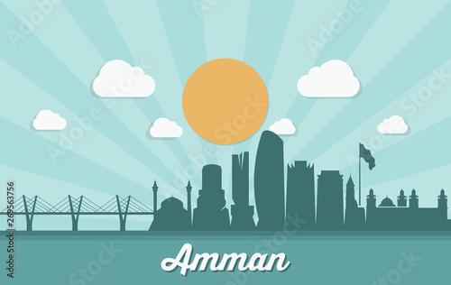 Photo Amman skyline - Jordan - vector illustration - Vector