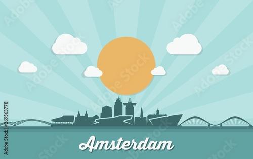Amsterdam skyline - Netherlands - vector illustration - Vector Canvas Print