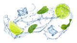 Slices of juicy lime, fresh mint and splashing cold water on white background