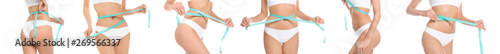Collage of slim young woman measuring her body with tape on white background, closeup