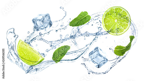 Naklejki na kafelki slices-of-juicy-lime-fresh-mint-and-splashing-cold-water-on-white-background