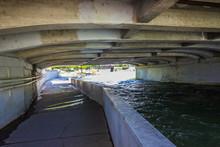 Beneath Highway Bridge On Truckee River In Reno