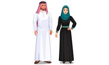Vector Illustration Of Arabian Couple
