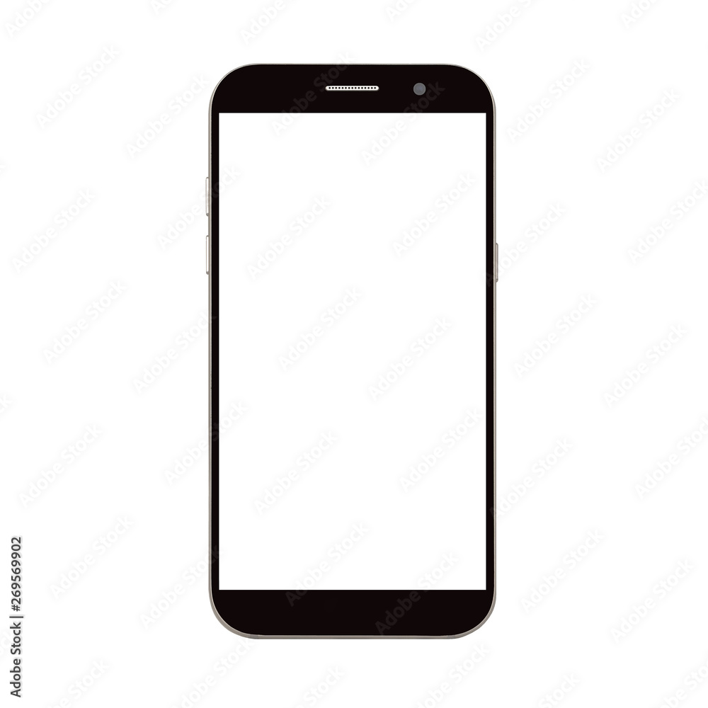 Fototapety, obrazy: black smart phone with blank screen isolated on white