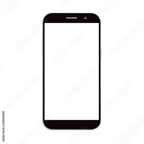 Fotografía  black smart phone with blank screen isolated on white