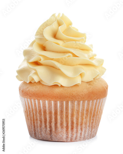 Photo  Delicious cupcake with cream on white background