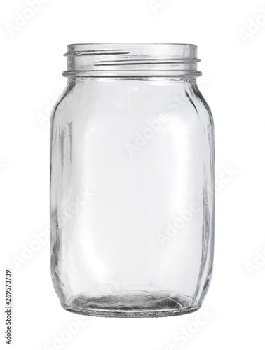 Glass jar kitchen utensil (with clipping path) isolated on white background Slika na platnu