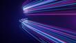 Leinwandbild Motiv Abstract neon light streaks lines motion background
