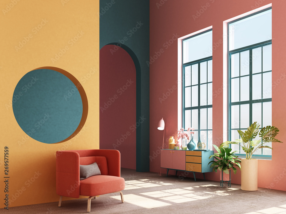 Fototapeta Interior concept of memphis design colorful, Armchair with console and prop. 3d render