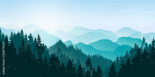 Aluminium Prints Blue sky Mountain landscape. Mountains and coniferous forest. Tourism and travelling. Vector silhouette