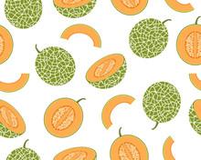 Seamless Pattern Of Fresh Cantaloupe Melon Isolated On White Background - Vector Illustration