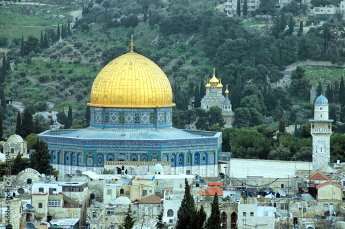 Jerusalem: Dome of the Rock and Church of Mary Magdalene Wallpaper Mural