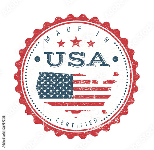 Photographie Made In USA Vintage Badge Seal/ Illustration of a cool vintage grunge textured m