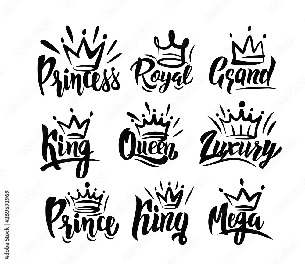 Fototapeta Crown logo with hand text lettering on white