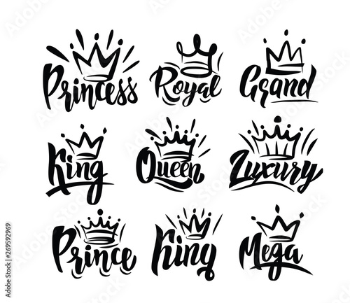 Crown logo with hand text lettering on white Canvas Print
