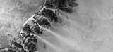 abstrakcyjny naturalizm, czarno-białe zdjęcie, abstrakcyjne zdjęcia krajobrazów pustyń Afryki z powietrza, widok z lotu ptaka, współczesna sztuka fotograficzna, - 269596569