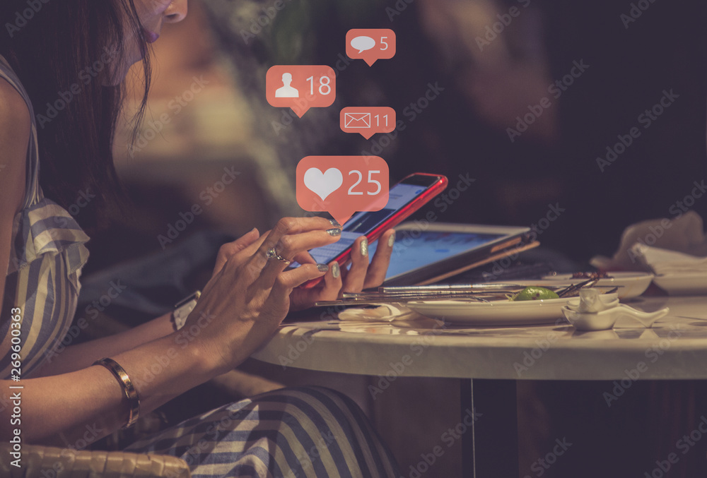 Fototapety, obrazy: Young woman using smart phone,Social media concept