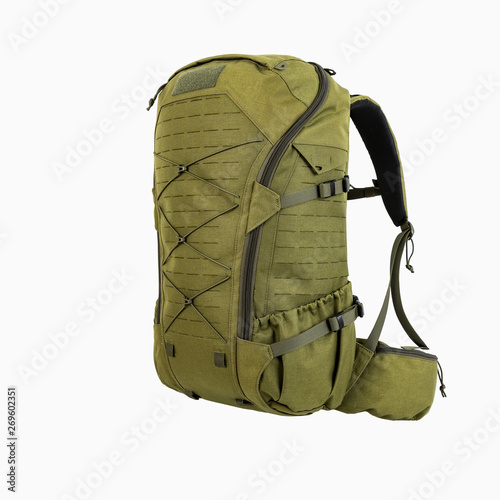 Obraz green hiking backpack for hunters camouflage with side pockets on a white background, - fototapety do salonu