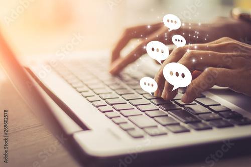 Fototapeta Businesswoman laptop using ,Social, media, Marketing concept. obraz