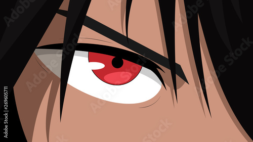 Web banner for anime, manga. Anime face with red eyes from cartoon. Vector illustration - 269605711