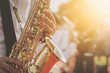 Leinwanddruck Bild - jazz musician playing the saxophone Beautiful voice .Jazz mood Concept