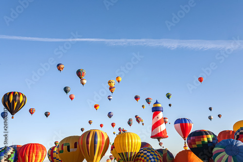 Fototapeta  Colorful hot air balloons flying the blue sky