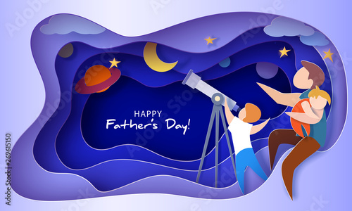 Carta da parati Happy father s day card. Paper cut style