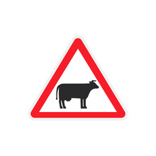 A Road Sign With A Cow