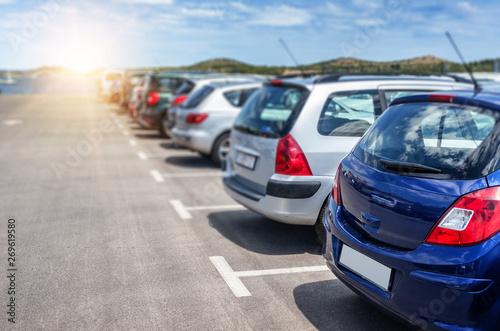 Obraz na plátně Cars in the parking lot.