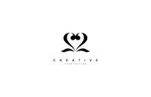 Number 22 Love Heart Minimalist Elegant Logo Design
