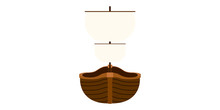 Isolated Front View Of A Pirate Ship - Vector