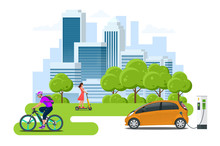 Bycicle Rental. Scooter Rental. Car Rental. City Life With Eco Transportation. Healthy Lifestyle.
