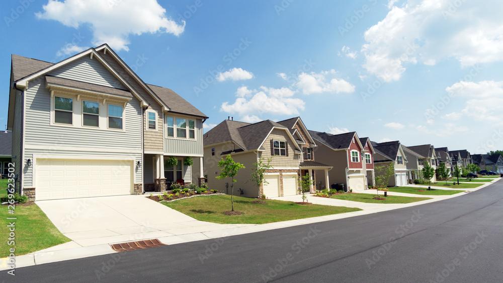 Street of suburban homes