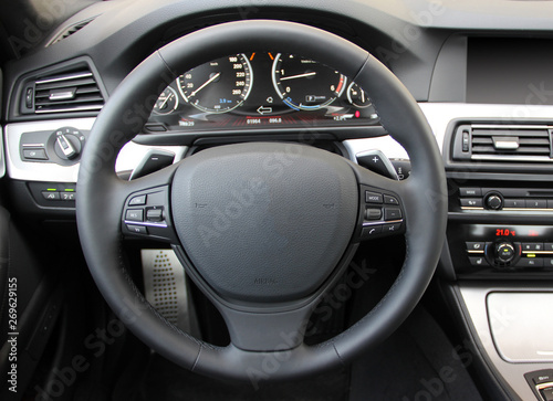 Tablou Canvas steering wheel in the new modern car