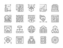 Set Of Data Analysis Line Icons. Hosting, Program Algorithm, Database And More.