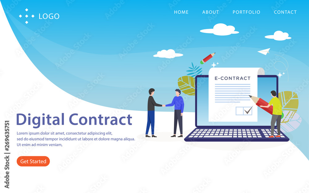 Fototapety, obrazy: digital contract, website template, vector layered, easy to edit and customize, illustration concept