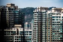 Residential Building Panorama Town. Concept Background For Complex City And Urban Life In China