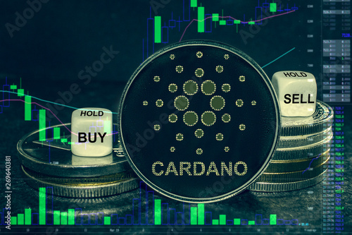 coin cryptocurrency ada cardano stack of coins and dice Canvas Print